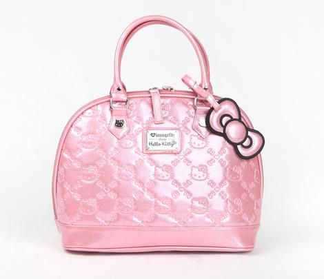 Hello Kitty Embossed Handbag: Pink Glitter http://www.sanrio.com/designer-collections-loungefly/hello-kitty-embossed-handbag-pink-glitter