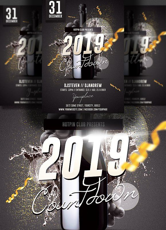 New Years Eve Flyer Template By Hotpin On Creativemarket