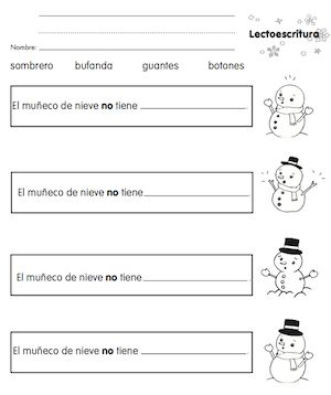 Spanish Winter Vocabulary from Monarca Free printable activity sheets and suggestions for follow-up.  http://www.spanishplayground.net/spanish-winter-vocabulary-monarca/