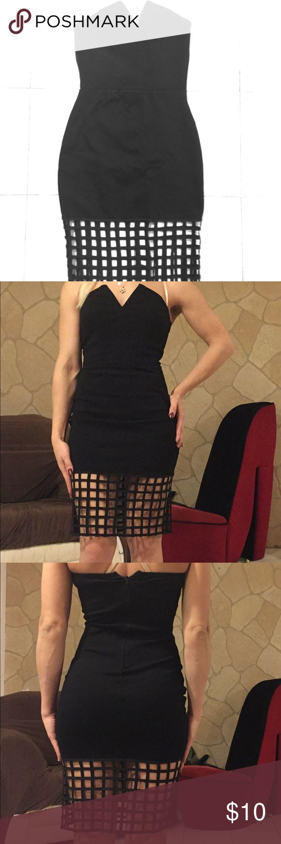 Mystic - Fitted Black Eyelet Bodycon Dress Size: S Mystic - Women's Fitted Black Eyelet Bodycon Dress - Size: Small (S). Worn a few times but in great condition still. Pairs well with a nice pair of heels/pumps.   #mystic #fitteddress #littleblackdress #eyelet #strapless #bodycondress #girlsnightoutdress #partydress #sexydress Mystic Dresses Strapless