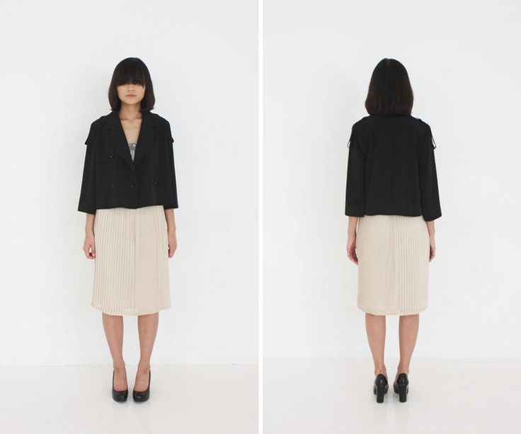 al,thing - short trench coat / Pleats mix skirt