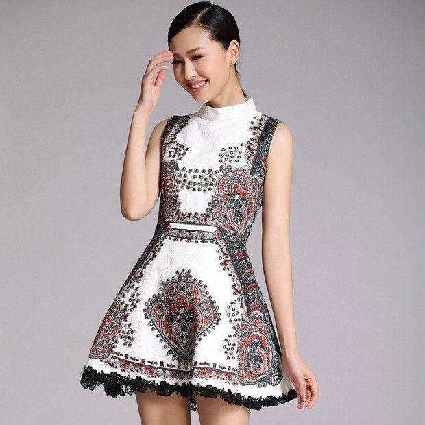 Beading Stand Collar Sleeveless Dress