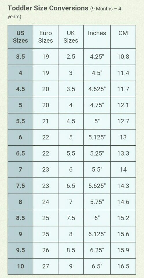 Toddler shoe size conversion chart 9 months through 4 ...
