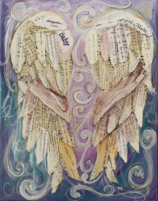 paintings of angels with wings   Baby Angel Wings Mixed Media 11 x 14 inches titled by grafittigirl, $ ...