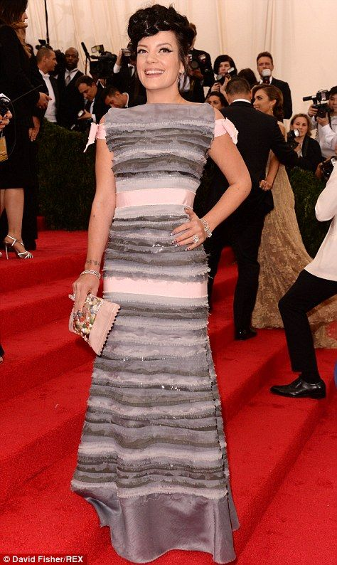Lily Allen wore a Chanel dress of layers of greys and soft pinks...