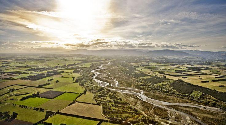 The Ashley River near Rangiora, North Canterbury, New Zealand