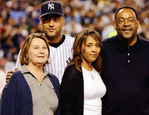 """Derek Jeter, with his father, Charles, his mother, Dorothy,and sister Sharlee. His parents met while serving in the Army in Germany. """"Growing up, Derek and his sister Sharlee were sometimes called hurtful names,"""" Raising their family in Kalamazoo, Michigan..."""
