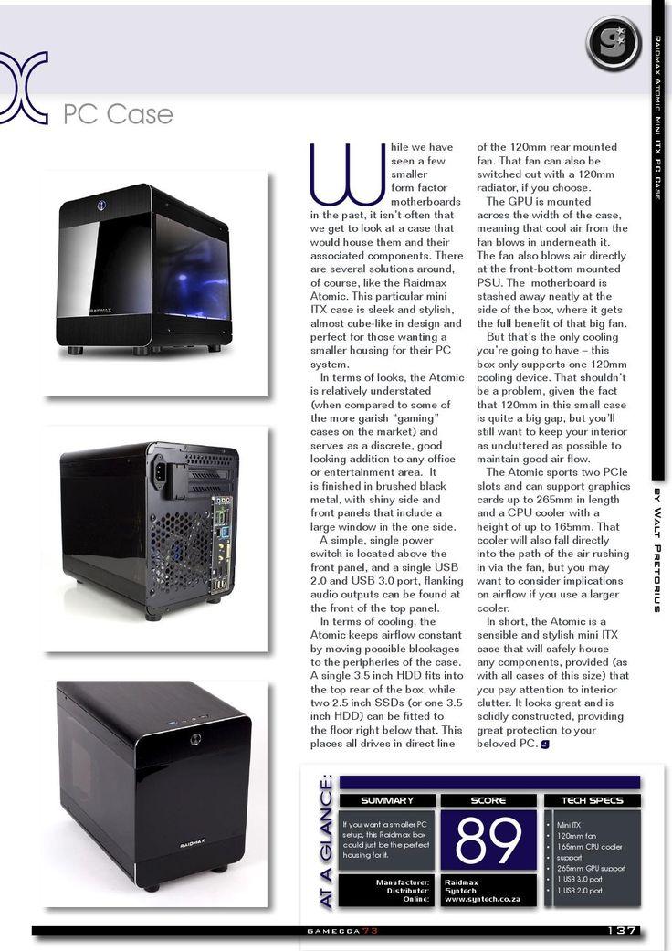 Reviews - Raidmax Atomic Mini ITX: http://ow.ly/RolV3   #syntech #Raidmax #review #Gamecca
