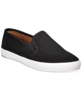 Sperry Seaside Perf Slip-On Sneaker leather black, grey sz7.5 75.00 4/16
