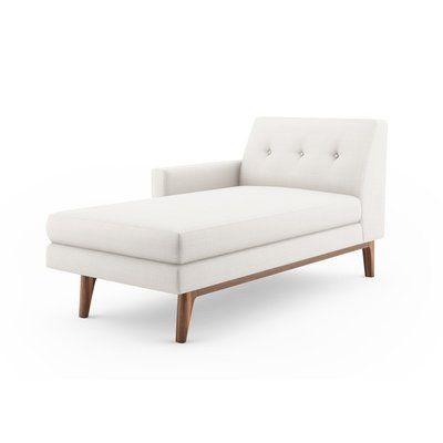 "BenchMade Modern Tyler Chaise Lounge Size: 32.5"" H x 35"" W x 63"" D, Body Fabric: Azure, Leg Finish: Walnut, Sectional Orientation: Right Facing"
