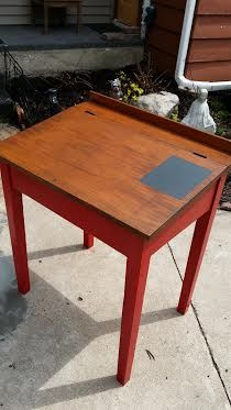 "This desk is a vintage writing desk.  I painted it a white that has the slightest hint of red on the inside.  The whole things was covered in Minwax matt finish and that little black spot is chalk board paint.  The red is Pittsburgh ""Gumball"" red and I used Rustoleum Java glaze for a hint of antiquing on the red.  The stain color is Minwax Gel Dark Walnut."