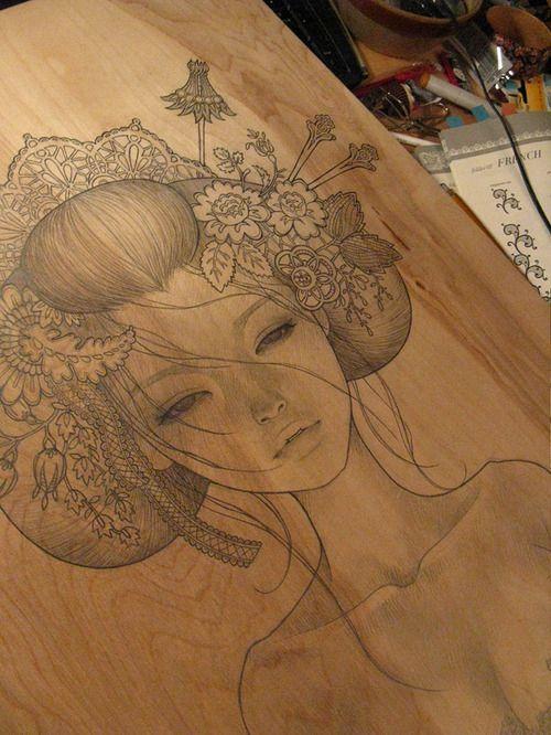art, audrey kawasaki, drawing, geisha, illustration, japan.