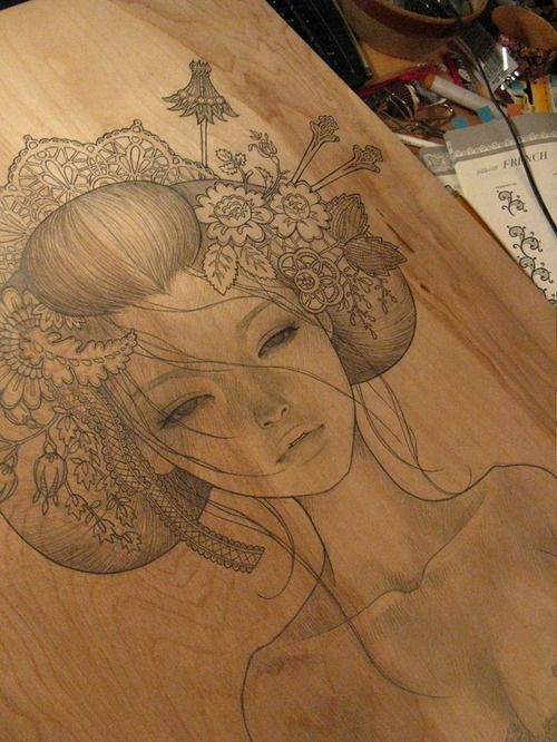 Love the look of pencil on wood. By Audrey Kawasaki, check out her other awesome stuff!