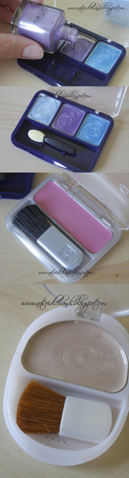 "A great tool for your little makeup artist. It's an easy way to let her play with ""makeup"" without all of the mess. All you need is an empty eyeshadow compact and some nail polish. Pour the nail polish into the empty slots and let it harden."