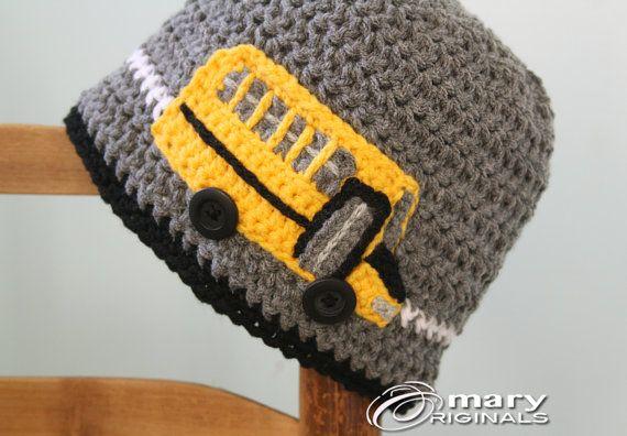 School Bus Hat Bus Hat Crochet Bus Crochet Beanie by MaryOriginals