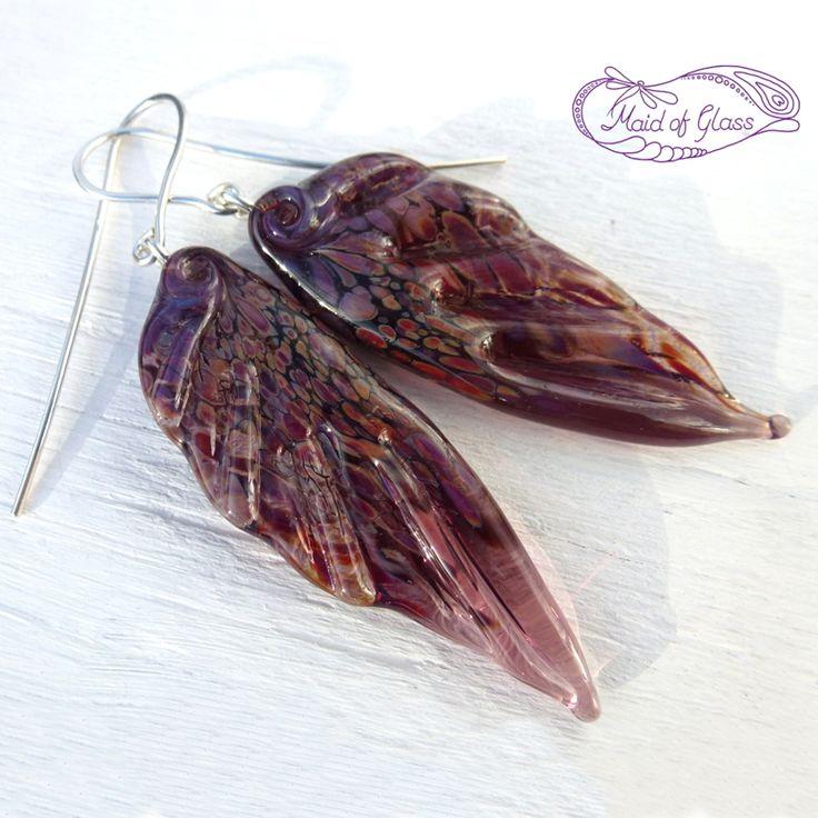 Handmade lampwork glass fairy wing earrings in amethyst purple ~ www.MaidofGlass.co.uk