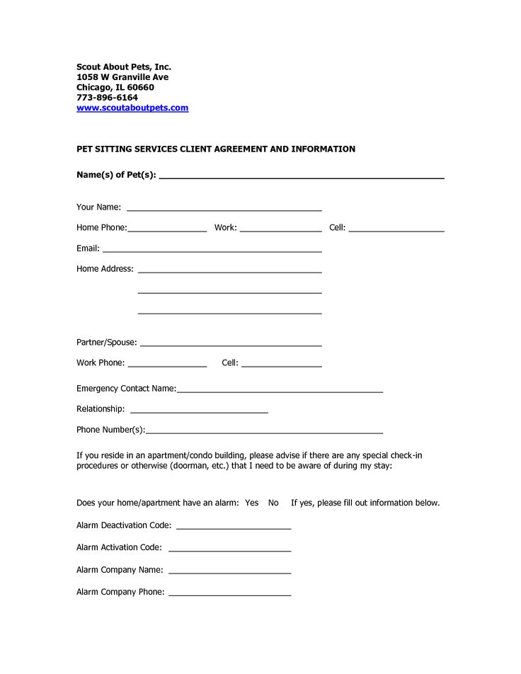 Professional Pet Sitting Forms Template Dog Sitting Form