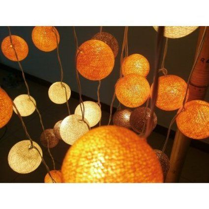 Yellow Gold Tone Mixed 35 of Cotton Balls String Lights Patio Wedding and Home Decorate By New (35 Balls/set): Amazon.co.uk: Garden & Outdoo...