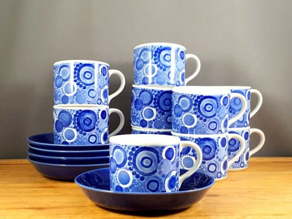15 items from Rörstrand Sweden 10 cups with 5 saucers from