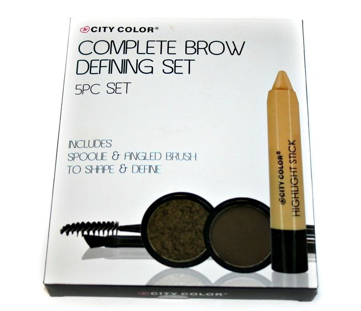 Complete Brow Defining Set 5pcs. Includes: 2 Eyebrow Powders, 1 Highlight, 1 Spoolie & 1 Angled Brush.