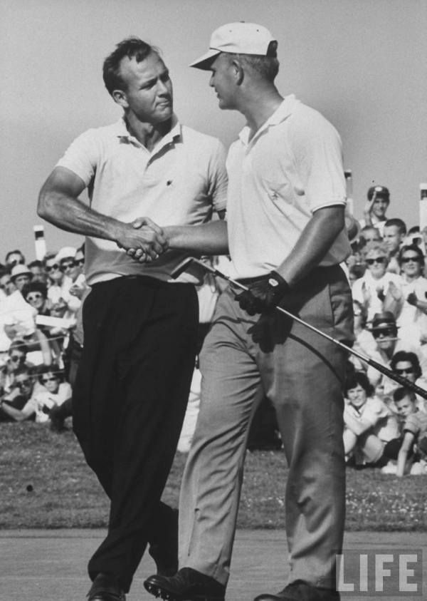 Arnold Palmer and Jack Nicklaus, 1962. Palmer won Masters.