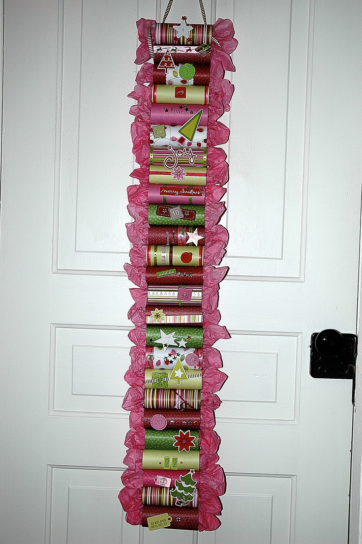 Check out this advent calendar made from empty toilet paper rolls. Great idea!