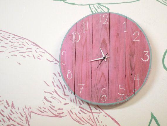 Pink wooden clock project of up cycling handmade by littlerocksPK
