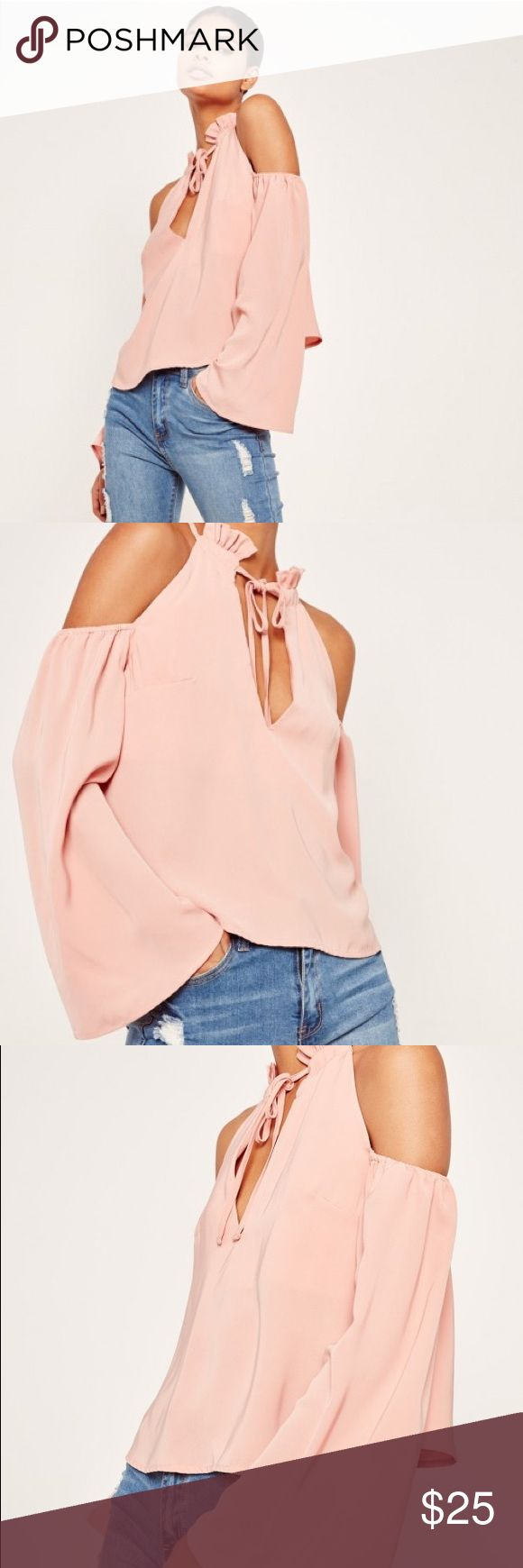 Missguided Top Worn once. Baby pink. Cut out shoulders. Drawstring to tie up at the neckline. Trumpet sleeves. Size 6. Missguided Tops Blouses