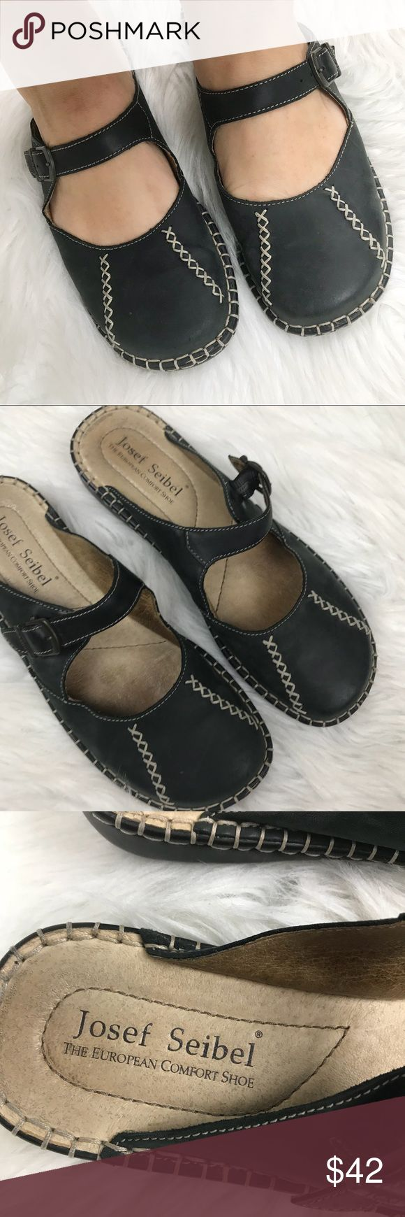 Josef Seibel Black Leather Slip on Mary Janes 40 9 Josef Seibel comfort walking backless leather Mary Janes.  Gently used condition, very comfortable. Euro size 40 = US 9
