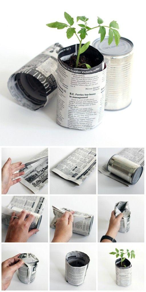 Newspaper plant pots.
