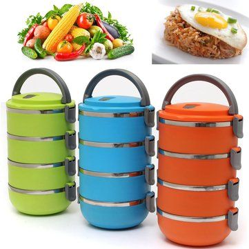 4 Layers Portable Stainless Steel Bento Lunch Box Thermal Insulation Lunch Box