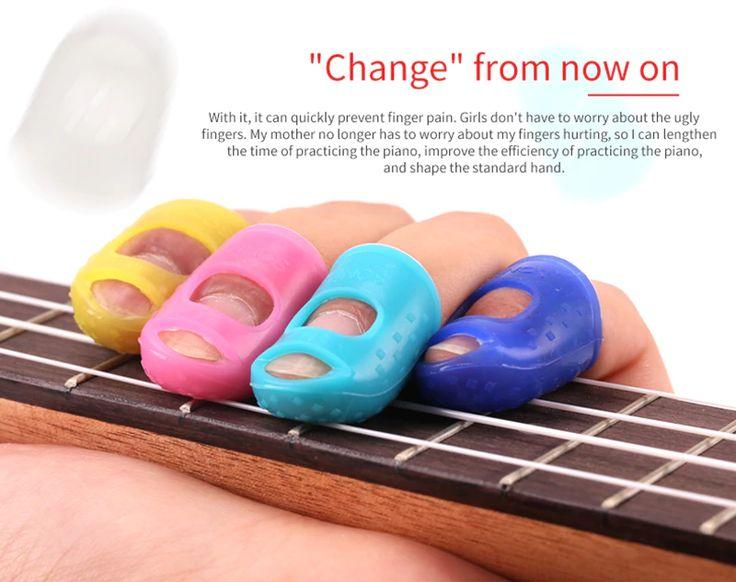 Hispetech 4PCS Left Hand Guitar Pick Finger Sleeve Anti