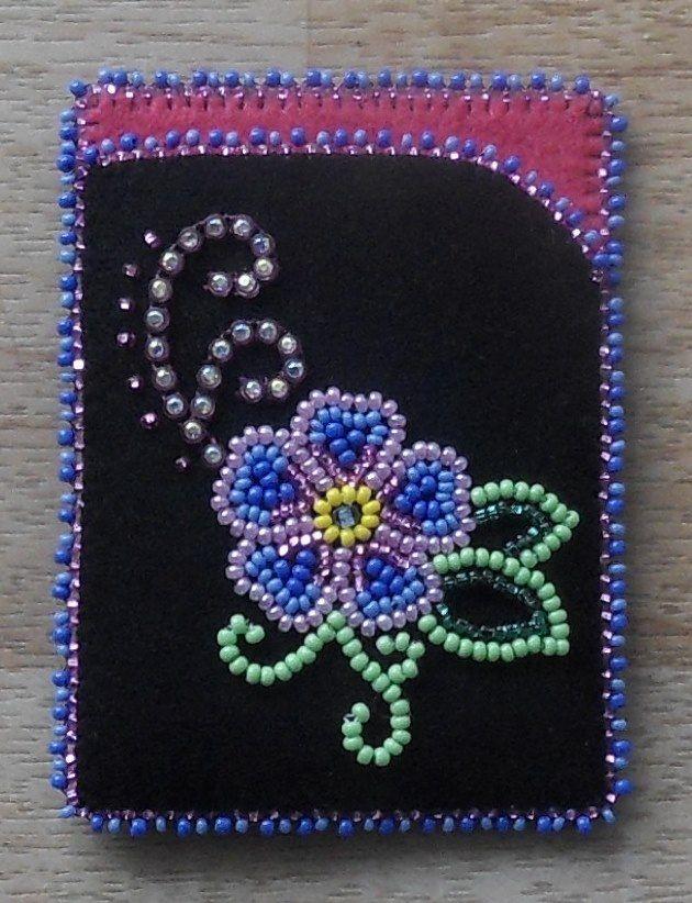 Beaded card case/holder! Banding and beadwork on black Melton w/felt lining by Carmen Dennis (Tahltan)