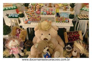 Doce Mania - Decoração Chá de Bebê Urso Caipira - Festa Junina