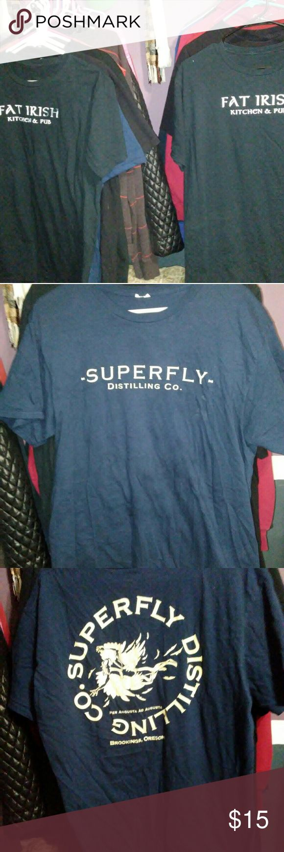 3 men shirts size xl Great condition shirts all 3 are from places in my hometown 2-Fat Irish Kitchen & Pub  1- Superfly Vodka Distillery  Size xl Shirts Tees - Short Sleeve