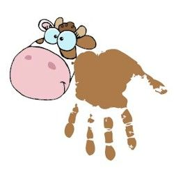 DIY for Kids; Your Special Cow Handprint Craft for Animal Farm Theme. Make your own special Cow using one of the Templates (Color, or Black and White). What are Cows giving us? Drinks? Sandwich Filling? What do Cows eat? & more...... :-D