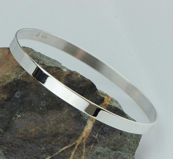 "LJ Jewellery - Sterling Silver Flat polished Bangle - 65mm (2.55"")"