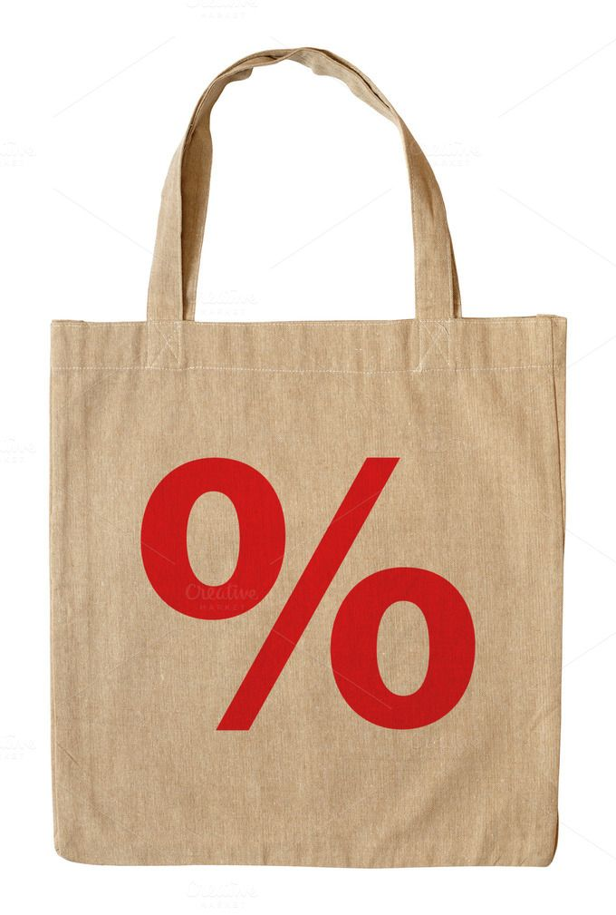 Shopping bag with symbol percent by windu on Creative Market