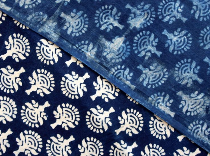 Sold By Yard Indigo Fabric From India, Batik Fabric,Cotton Fabric, Block Printed Fabric, Indigo Blue Vegetable Dye Cotton Fabric HPS#321 by handprintedshop on Etsy