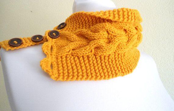 unisex yellow mustard neckwarmers autumn wool by likeknitting
