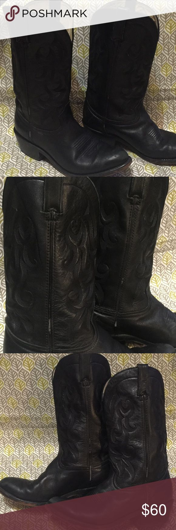 Black Durango Cowboy Boots 9 These are a vintage/used pair of leather cowboy boots. There are signs of wear, as seen in photos. Need a good polishing and your good to go. Rock them like Gaga! Durango Shoes Heeled Boots