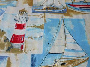 Tkanina marynarskie styl łódki latarnia morska żaglowka