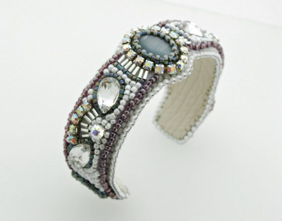 Swarovski Crystal Bracelet Silver Gray Cuff, Statement jewellery, Bead Embroidery Cuff by ThezoraArtBijoux Use PINTEREST coupon at check-out to get 10% OFF!