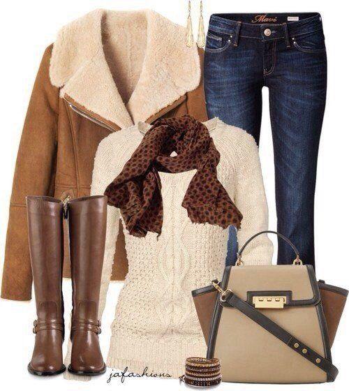 пальто, джинсы, сумка, свитер, сапоги