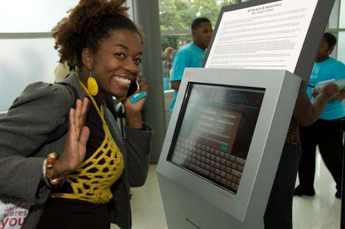 """Our kiosks seen at the """"Our Black is Beautiful"""" tradeshow, Follow this link to learn more about rental kiosks http://www.advancedkiosks.com/self-service-kiosks/rental-kiosks.php"""