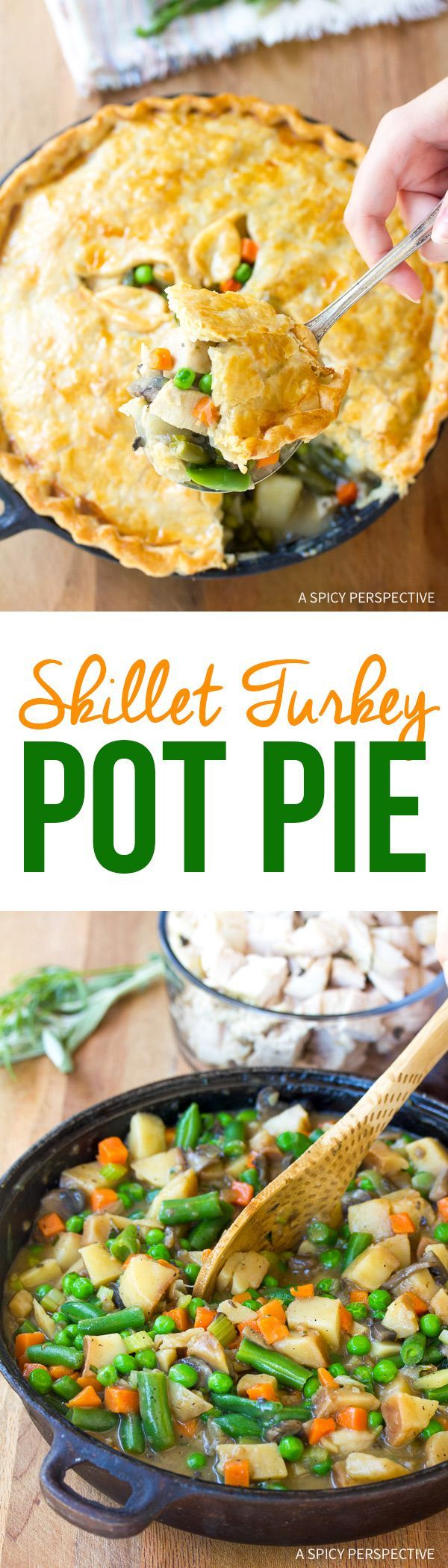 Skillet Turkey Pot Pie Recipe - Use up your Thanksgiving leftovers in this amazing pot pie recipe! Or substitute chicken for the turkey to make a classic chicken pot pie! via @spicyperspectiv