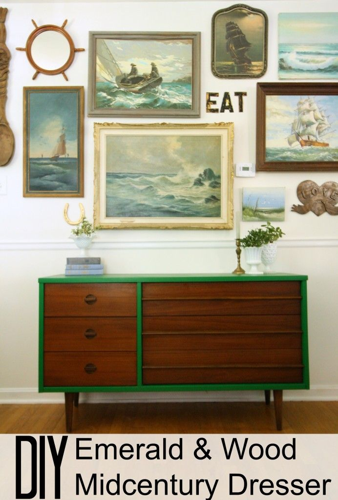 Emerald & Wood Midcentury Dresser Makeover - I am digging the two toned furniture makeovers lately that feature stained wood paired with painted wood.