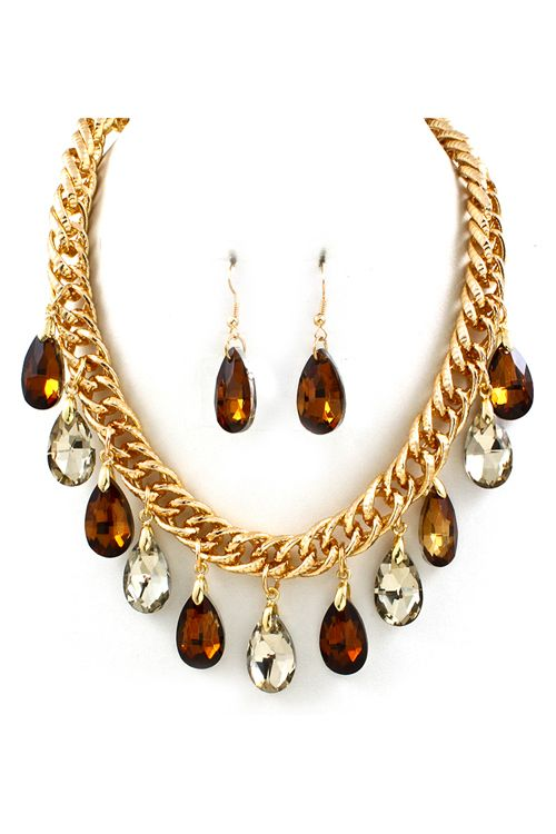 Crystal Dakota Necklace in Champagne and Chocolate