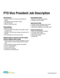 PTO Vice President Job Description
