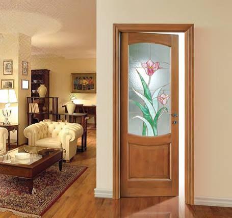 Porta da interno tutto legno con vetro cattedrale rilegato - Porta interna vetro ...